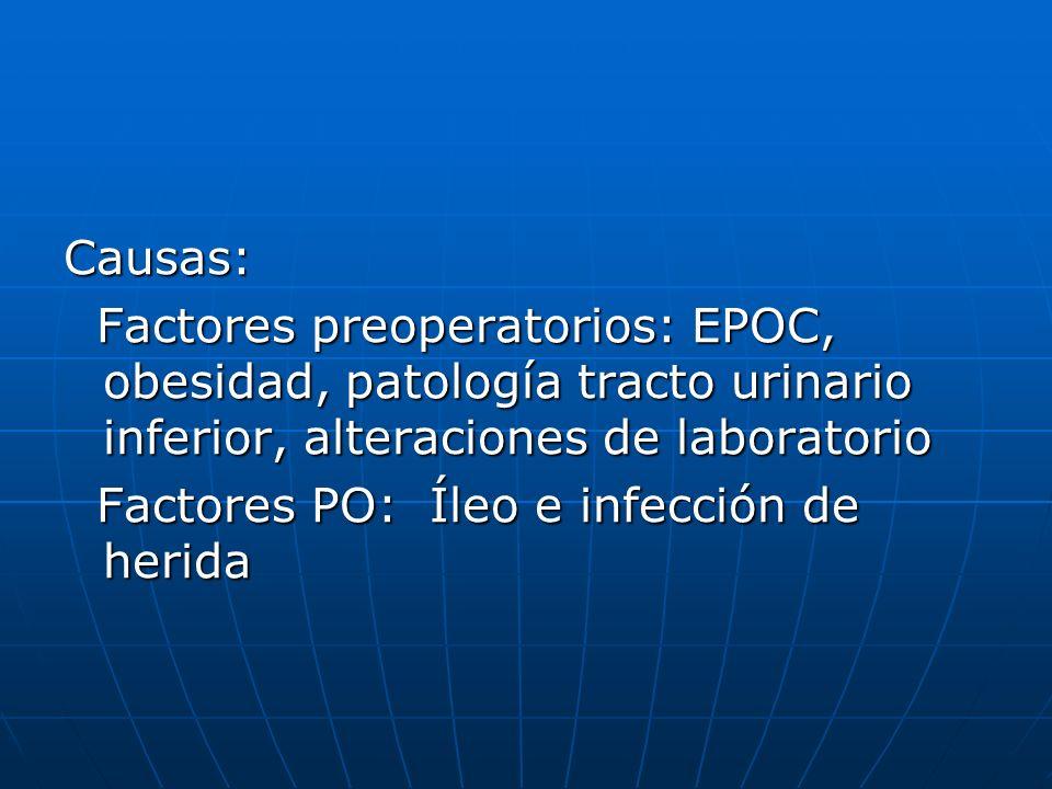 Causas: Factores preoperatorios: EPOC, obesidad, patología tracto urinario inferior, alteraciones de laboratorio Factores preoperatorios: EPOC, obesid