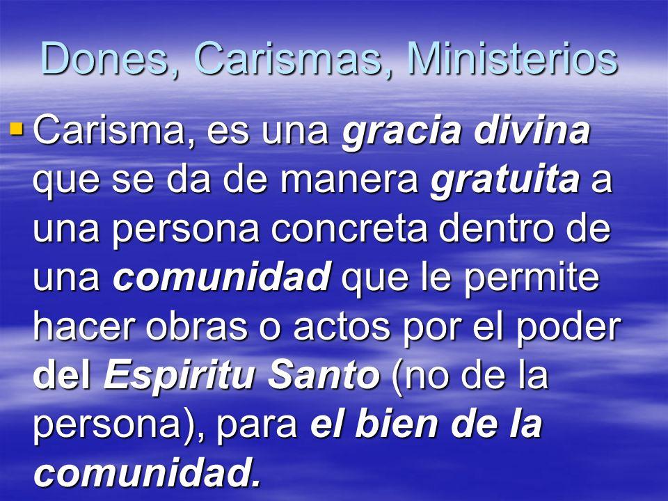 Dones, Carismas, Ministerios Carisma, es una gracia divina que se da de manera gratuita a una persona concreta dentro de una comunidad que le permite