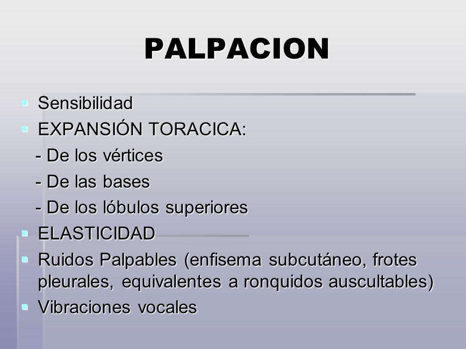 PALPACION Sensibilidad Sensibilidad EXPANSIÓN TORACICA: EXPANSIÓN TORACICA: - De los vértices - De los vértices - De las bases - De las bases - De los