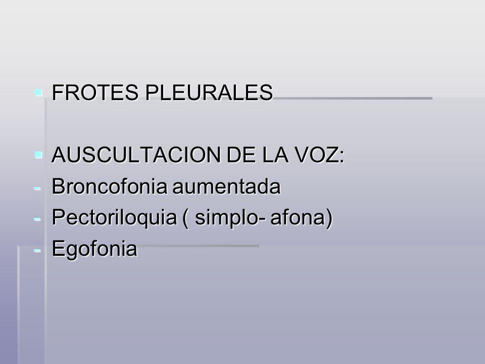 FROTES PLEURALES FROTES PLEURALES AUSCULTACION DE LA VOZ: AUSCULTACION DE LA VOZ: -Broncofonia aumentada -Pectoriloquia ( simplo- afona) -Egofonia
