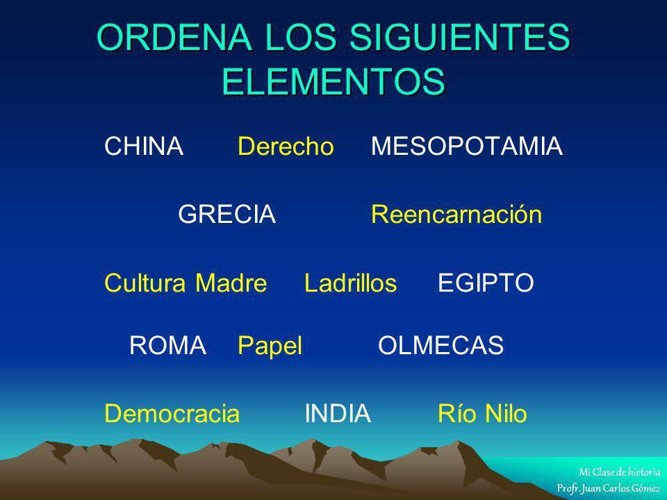 ORDENA LOS SIGUIENTES ELEMENTOS CHINA Derecho MESOPOTAMIA GRECIA Reencarnación Cultura Madre Ladrillos EGIPTO ROMA Papel OLMECAS Democracia INDIA Río