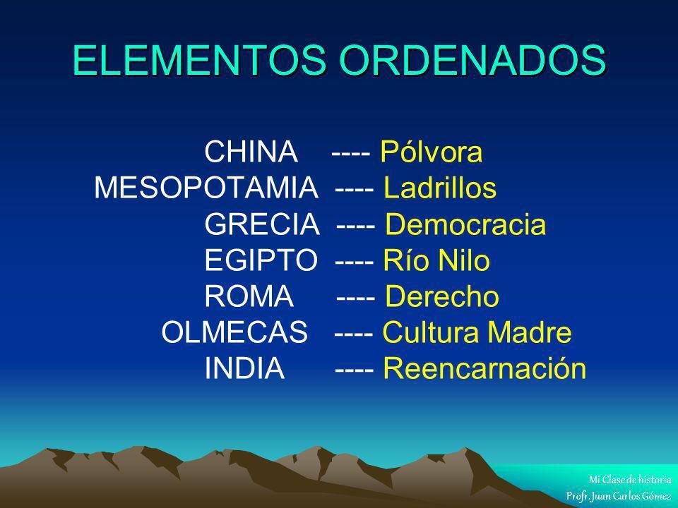 ELEMENTOS ORDENADOS CHINA ---- Pólvora MESOPOTAMIA ---- Ladrillos GRECIA ---- Democracia EGIPTO ---- Río Nilo ROMA ---- Derecho OLMECAS ---- Cultura M