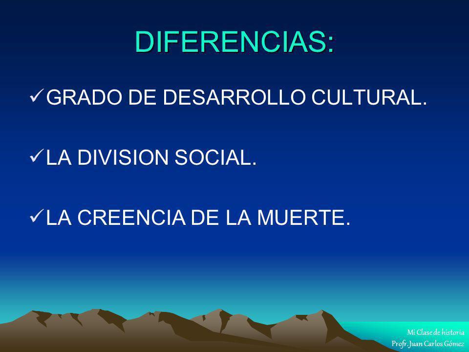 DIFERENCIAS: GRADO DE DESARROLLO CULTURAL. LA DIVISION SOCIAL. LA CREENCIA DE LA MUERTE. Mi Clase de historia Profr. Juan Carlos Gómez