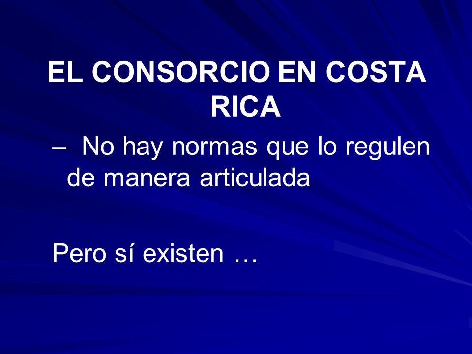 EL CONSORCIO EN COSTA RICA – – No hay normas que lo regulen de manera articulada Pero sí existen …