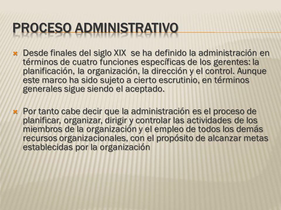 Desde finales del siglo XIX se ha definido la administración en términos de cuatro funciones específicas de los gerentes: la planificación, la organiz