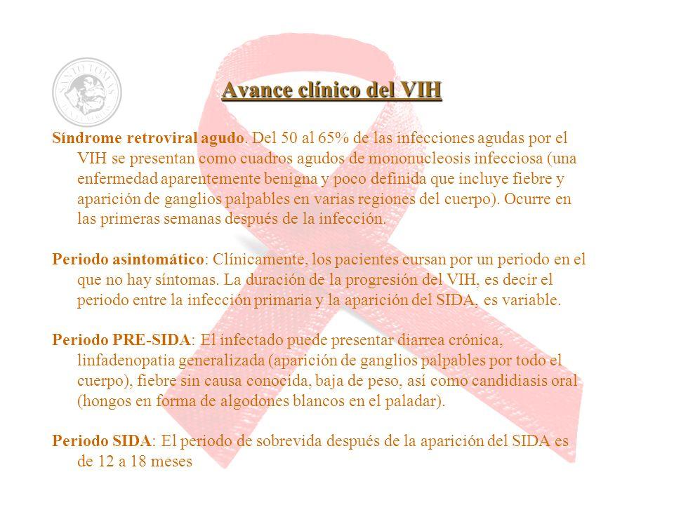 Avance clínico del VIH Síndrome retroviral agudo. Del 50 al 65% de las infecciones agudas por el VIH se presentan como cuadros agudos de mononucleosis
