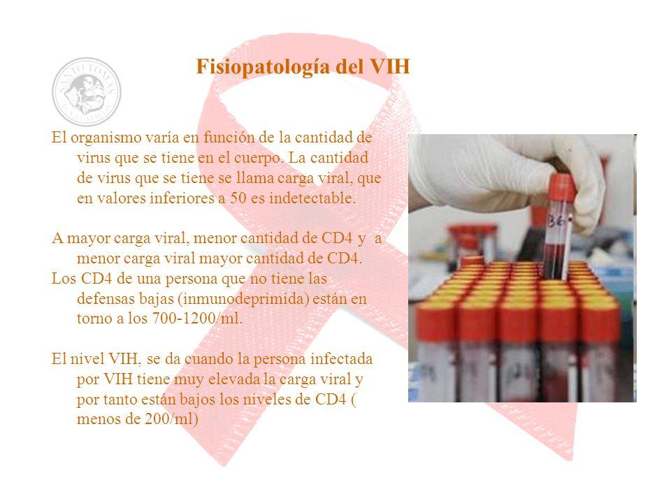 Fisiopatología del VIH El organismo varía en función de la cantidad de virus que se tiene en el cuerpo. La cantidad de virus que se tiene se llama car