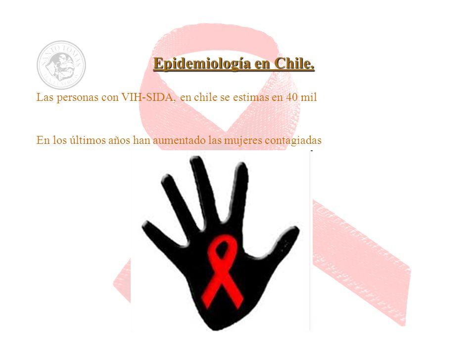 Epidemiología en Chile. Las personas con VIH-SIDA, en chile se estimas en 40 mil En los últimos años han aumentado las mujeres contagiadas
