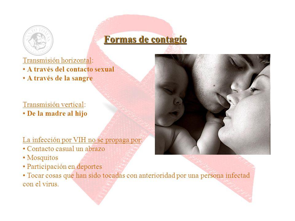 Formas de contagío Transmisión horizontal: A través del contacto sexual A través de la sangre Transmisión vertical: De la madre al hijo La infección p