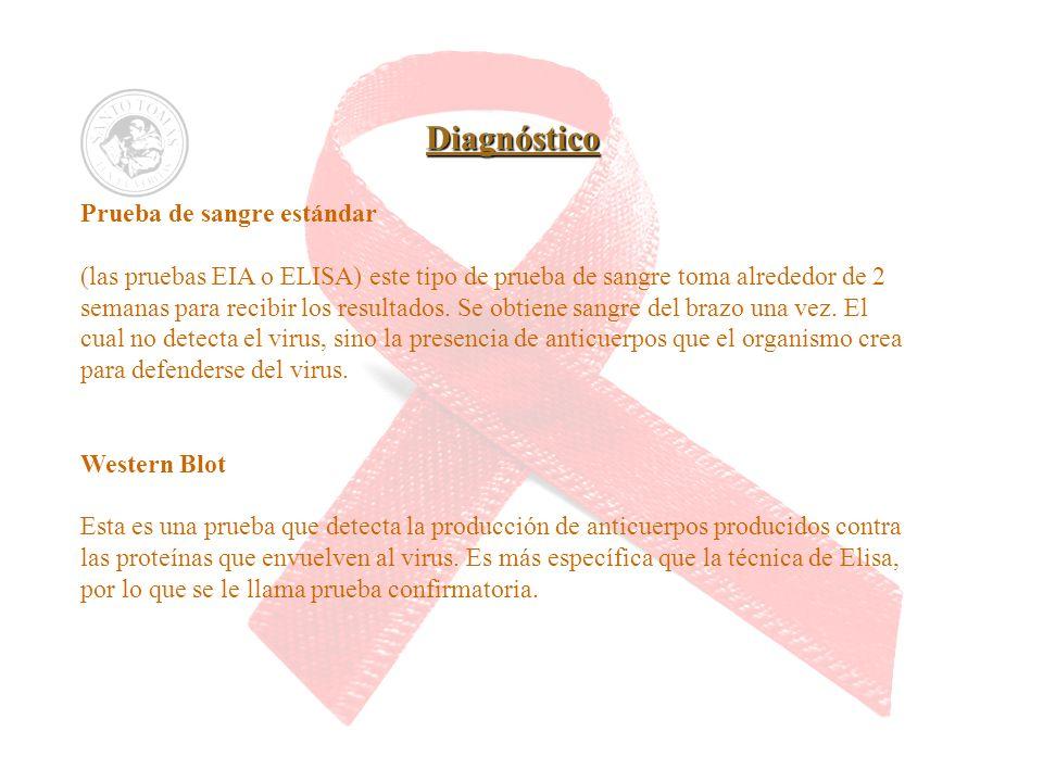 Diagnóstico Prueba de sangre estándar (las pruebas EIA o ELISA) este tipo de prueba de sangre toma alrededor de 2 semanas para recibir los resultados.