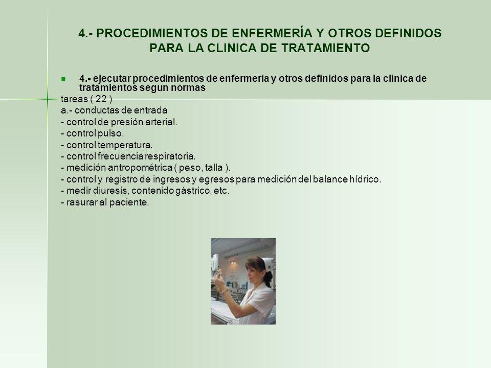 4.- PROCEDIMIENTOS DE ENFERMERÍA Y OTROS DEFINIDOS PARA LA CLINICA DE TRATAMIENTO 4.- ejecutar procedimientos de enfermeria y otros definidos para la