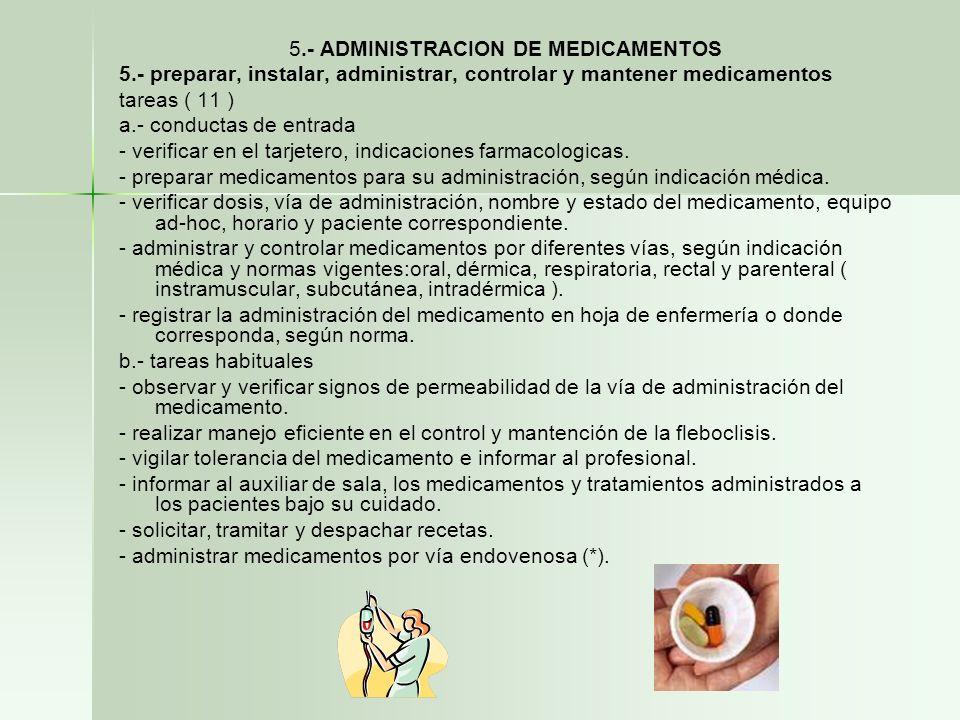 5.- ADMINISTRACION DE MEDICAMENTOS 5.- preparar, instalar, administrar, controlar y mantener medicamentos tareas ( 11 ) a.- conductas de entrada - ver