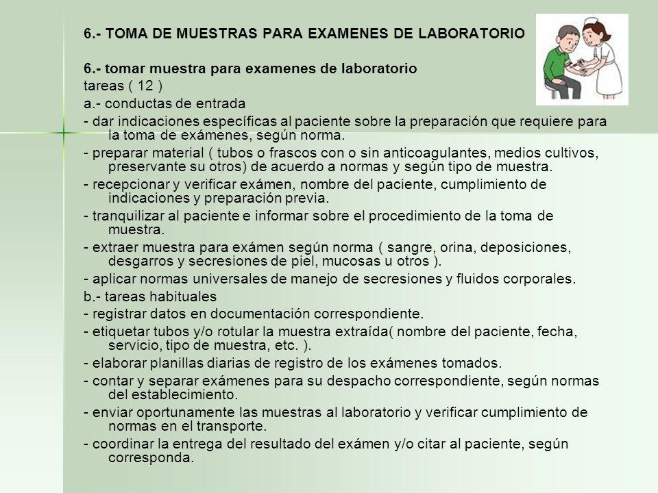 6.- TOMA DE MUESTRAS PARA EXAMENES DE LABORATORIO 6.- tomar muestra para examenes de laboratorio tareas ( 12 ) a.- conductas de entrada - dar indicaci