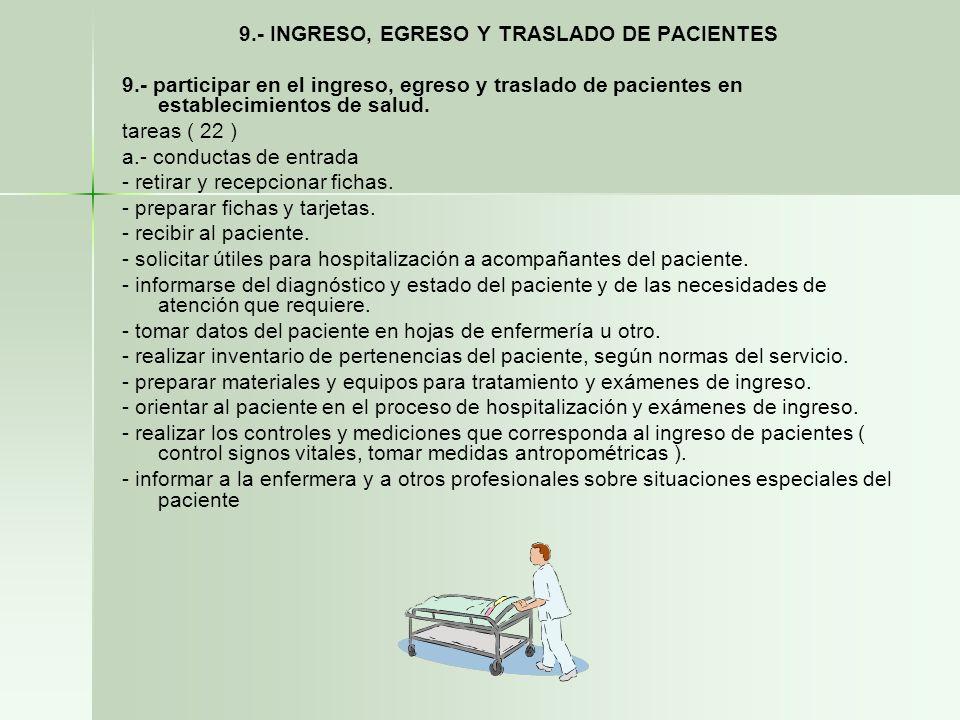 9.- INGRESO, EGRESO Y TRASLADO DE PACIENTES 9.- participar en el ingreso, egreso y traslado de pacientes en establecimientos de salud. tareas ( 22 ) a