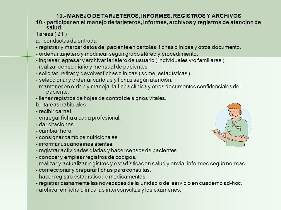 10.- MANEJO DE TARJETEROS, INFORMES, REGISTROS Y ARCHIVOS 10.- participar en el manejo de tarjeteros, informes, archivos y registros de atencion de sa