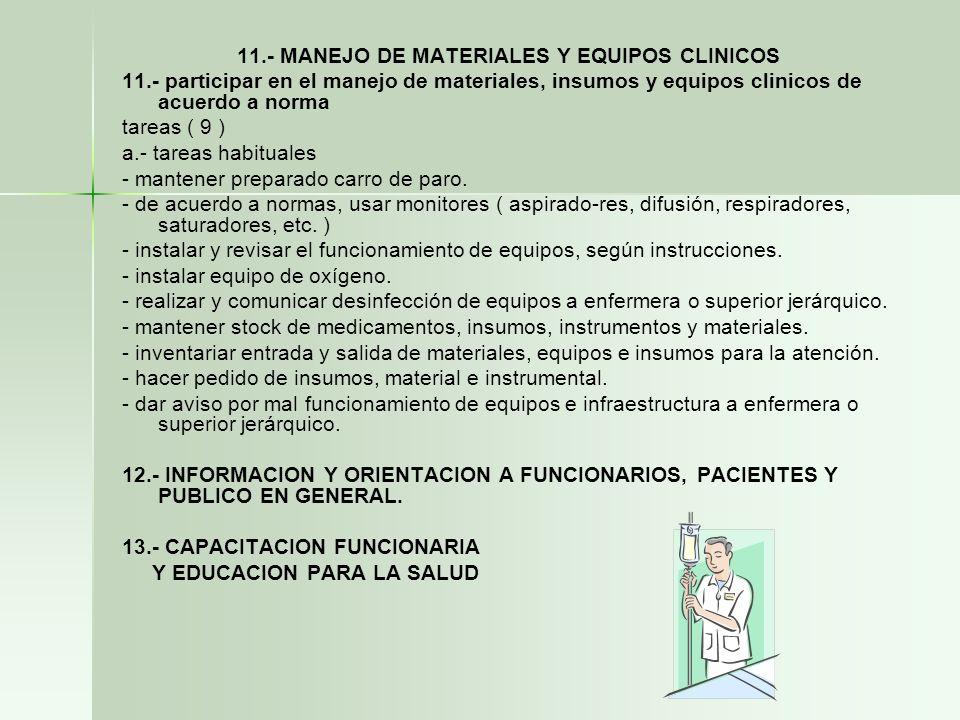 11.- MANEJO DE MATERIALES Y EQUIPOS CLINICOS 11.- participar en el manejo de materiales, insumos y equipos clinicos de acuerdo a norma tareas ( 9 ) a.