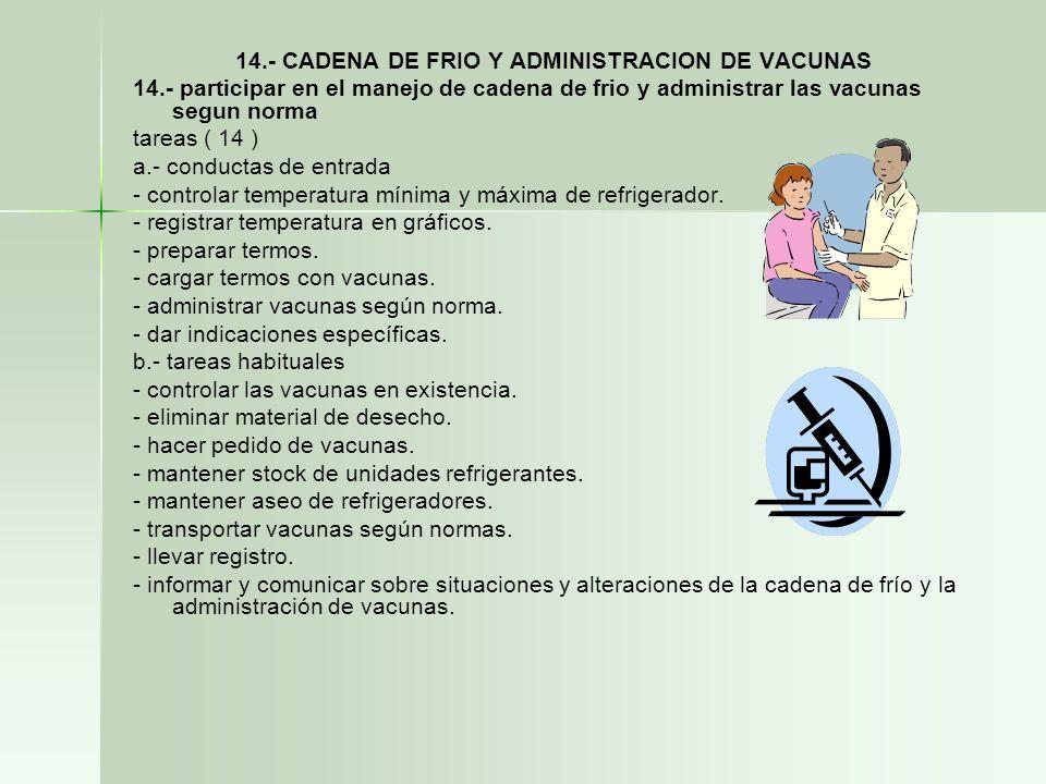 14.- CADENA DE FRIO Y ADMINISTRACION DE VACUNAS 14.- participar en el manejo de cadena de frio y administrar las vacunas segun norma tareas ( 14 ) a.-