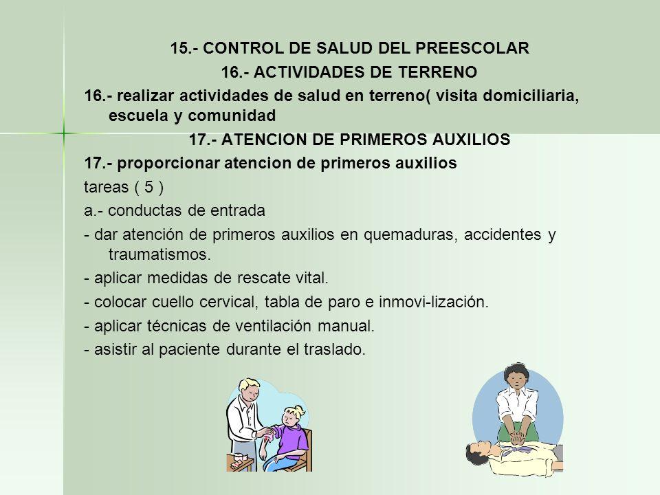 15.- CONTROL DE SALUD DEL PREESCOLAR 16.- ACTIVIDADES DE TERRENO 16.- realizar actividades de salud en terreno( visita domiciliaria, escuela y comunid