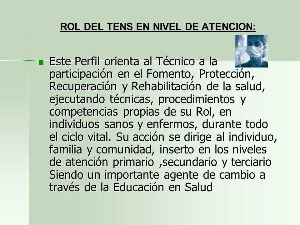 ROL DEL TENS EN NIVEL DE ATENCION: Este Perfil orienta al Técnico a la participación en el Fomento, Protección, Recuperación y Rehabilitación de la sa