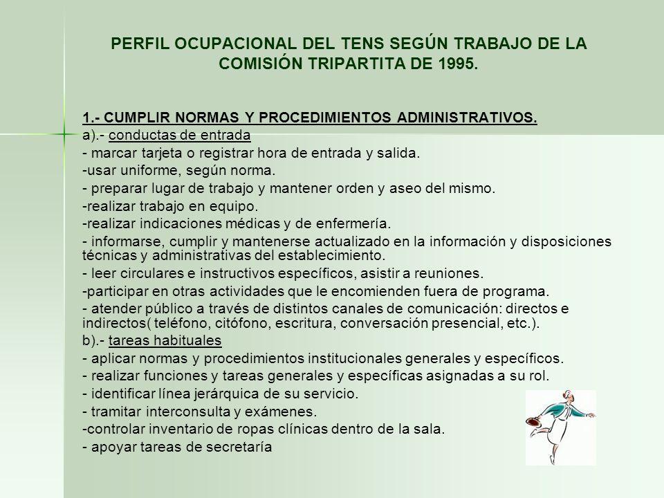 PERFIL OCUPACIONAL DEL TENS SEGÚN TRABAJO DE LA COMISIÓN TRIPARTITA DE 1995. 1.- CUMPLIR NORMAS Y PROCEDIMIENTOS ADMINISTRATIVOS. a).- conductas de en