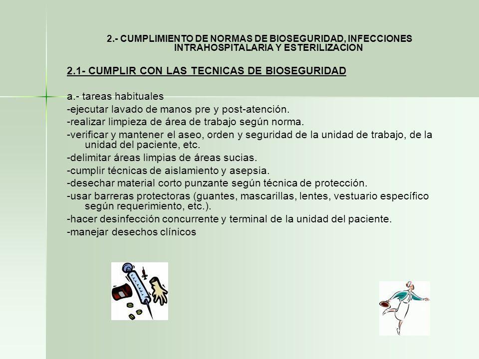 2.- CUMPLIMIENTO DE NORMAS DE BIOSEGURIDAD, INFECCIONES INTRAHOSPITALARIA Y ESTERILIZACION 2.1- CUMPLIR CON LAS TECNICAS DE BIOSEGURIDAD a.- tareas ha