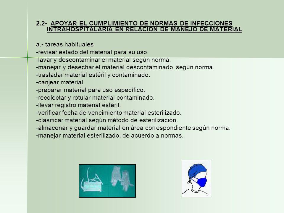 2.2- APOYAR EL CUMPLIMIENTO DE NORMAS DE INFECCIONES INTRAHOSPITALARIA EN RELACION DE MANEJO DE MATERIAL a.- tareas habituales -revisar estado del mat