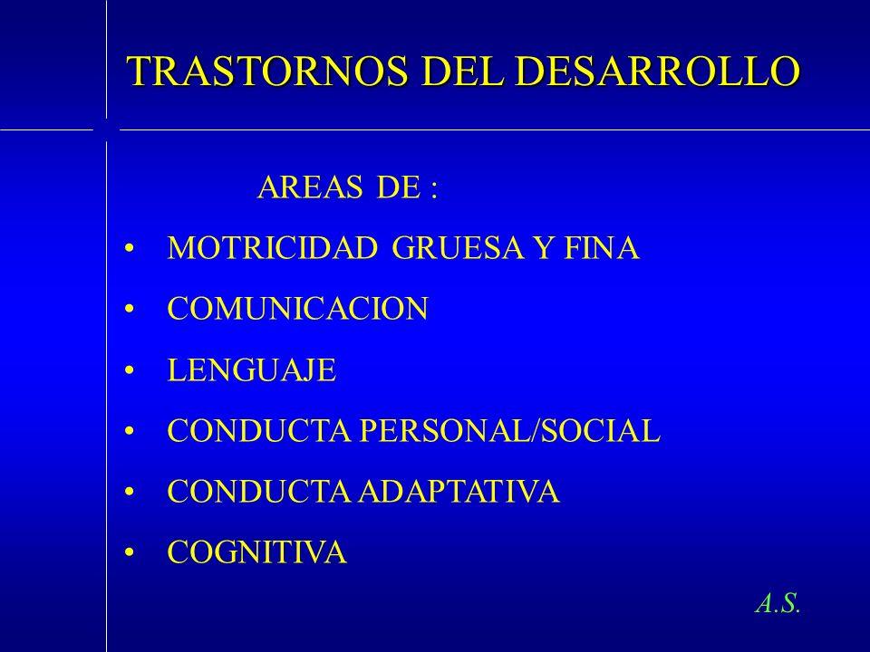 TRASTORNOS DEL DESARROLLO AREAS DE : MOTRICIDAD GRUESA Y FINA COMUNICACION LENGUAJE CONDUCTA PERSONAL/SOCIAL CONDUCTA ADAPTATIVA COGNITIVA