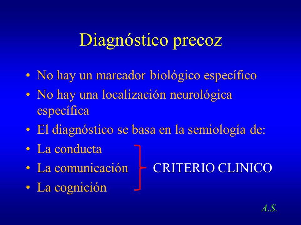 Diagnóstico precoz No hay un marcador biológico específico No hay una localización neurológica específica El diagnóstico se basa en la semiología de: