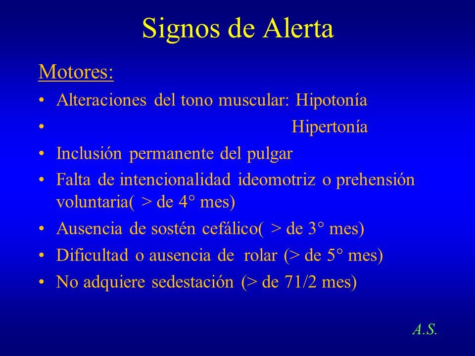 Signos de Alerta Motores: Alteraciones del tono muscular: Hipotonía Hipertonía Inclusión permanente del pulgar Falta de intencionalidad ideomotriz o p