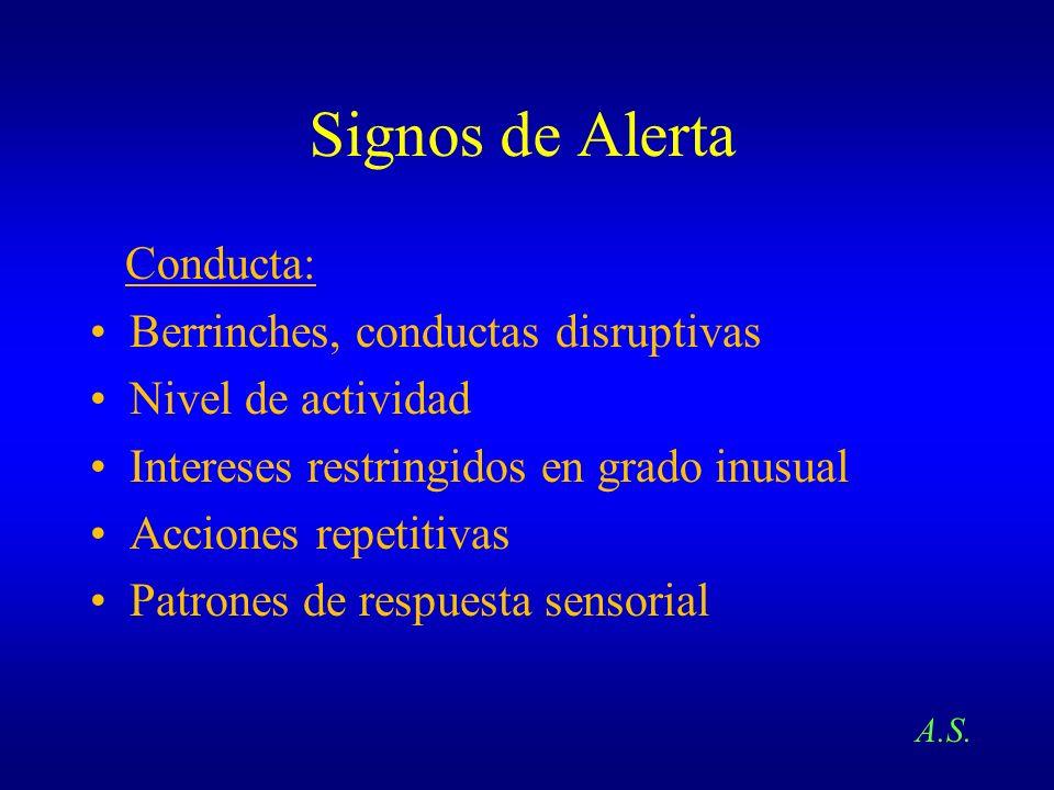 Signos de Alerta Conducta: Berrinches, conductas disruptivas Nivel de actividad Intereses restringidos en grado inusual Acciones repetitivas Patrones