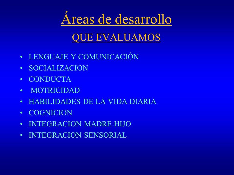 Áreas de desarrollo QUE EVALUAMOS LENGUAJE Y COMUNICACIÓN SOCIALIZACION CONDUCTA MOTRICIDAD HABILIDADES DE LA VIDA DIARIA COGNICION INTEGRACION MADRE