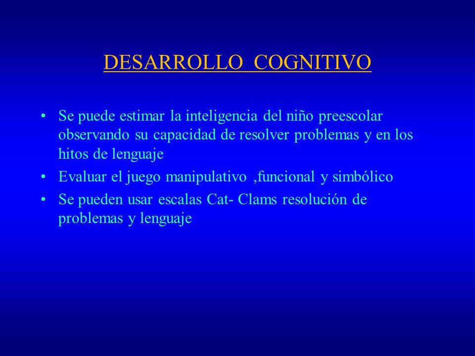 DESARROLLO COGNITIVO Se puede estimar la inteligencia del niño preescolar observando su capacidad de resolver problemas y en los hitos de lenguaje Eva