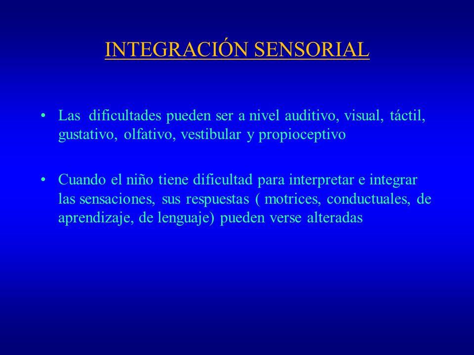 INTEGRACIÓN SENSORIAL Las dificultades pueden ser a nivel auditivo, visual, táctil, gustativo, olfativo, vestibular y propioceptivo Cuando el niño tie