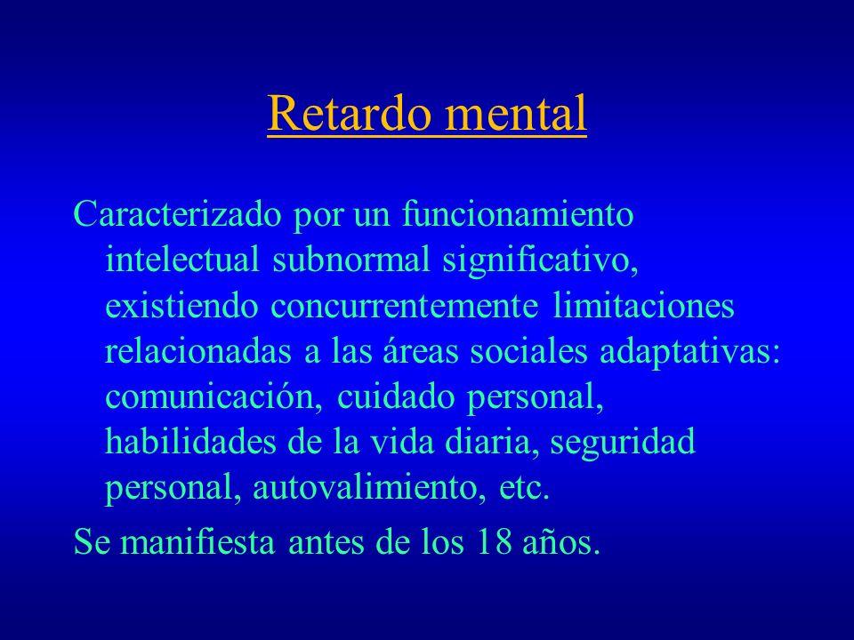 Retardo mental Caracterizado por un funcionamiento intelectual subnormal significativo, existiendo concurrentemente limitaciones relacionadas a las ár