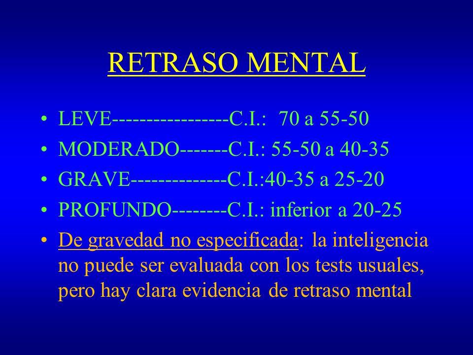 RETRASO MENTAL LEVE-----------------C.I.: 70 a 55-50 MODERADO-------C.I.: 55-50 a 40-35 GRAVE--------------C.I.:40-35 a 25-20 PROFUNDO--------C.I.: in
