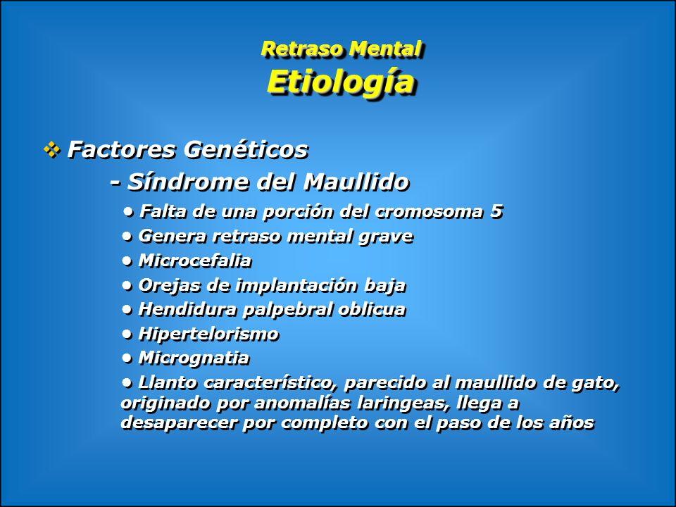 Retraso Mental Etiología Factores Genéticos - Síndrome del Maullido Falta de una porción del cromosoma 5 Genera retraso mental grave Microcefalia Orej