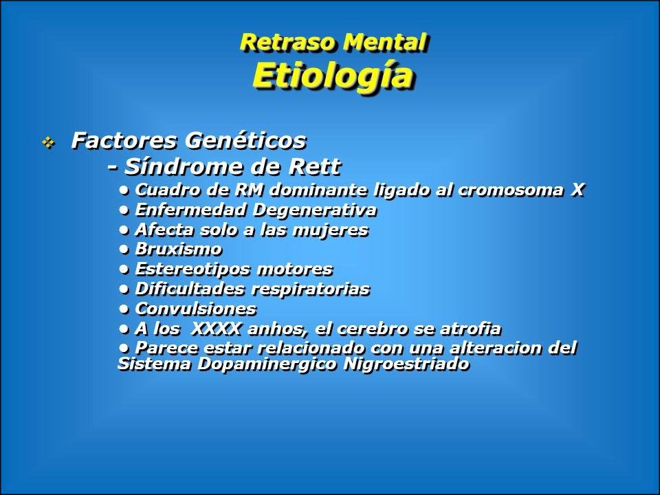 Retraso Mental Etiología Factores Genéticos - Síndrome de Rett Cuadro de RM dominante ligado al cromosoma X Enfermedad Degenerativa Afecta solo a las