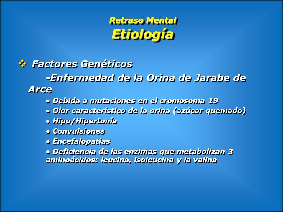 Retraso Mental Etiología Factores Genéticos -Enfermedad de la Orina de Jarabe de Arce Debida a mutaciones en el cromosoma 19 Olor característico de la