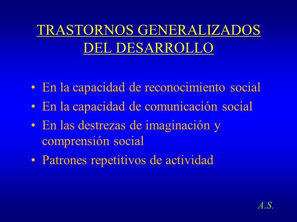 TRASTORNOS GENERALIZADOS DEL DESARROLLO En la capacidad de reconocimiento social En la capacidad de comunicación social En las destrezas de imaginació
