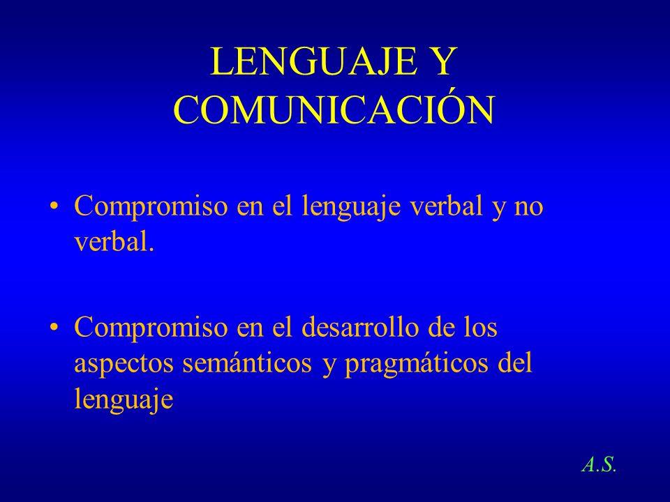 LENGUAJE Y COMUNICACIÓN Compromiso en el lenguaje verbal y no verbal. Compromiso en el desarrollo de los aspectos semánticos y pragmáticos del lenguaj