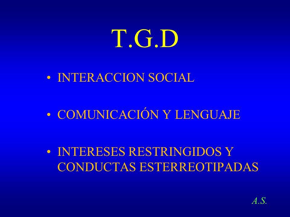 T.G.D INTERACCION SOCIAL COMUNICACIÓN Y LENGUAJE INTERESES RESTRINGIDOS Y CONDUCTAS ESTERREOTIPADAS A.S.