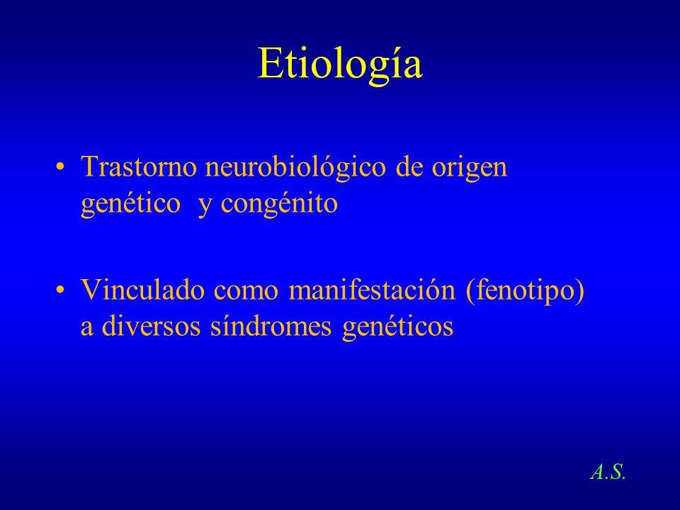 Etiología Trastorno neurobiológico de origen genético y congénito Vinculado como manifestación (fenotipo) a diversos síndromes genéticos A.S.