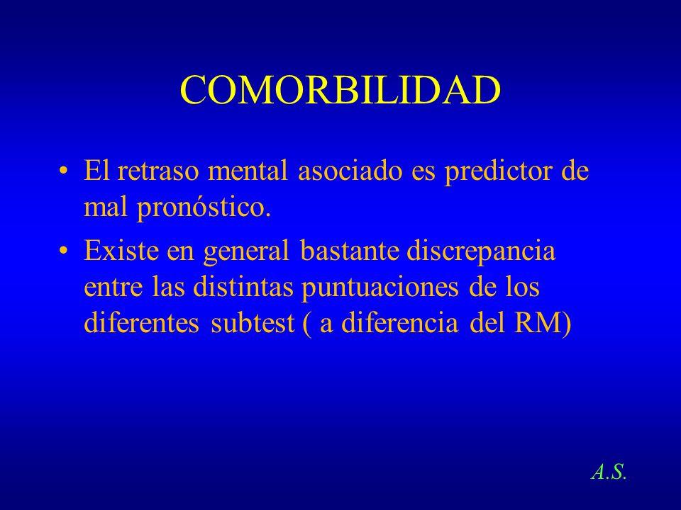 COMORBILIDAD El retraso mental asociado es predictor de mal pronóstico. Existe en general bastante discrepancia entre las distintas puntuaciones de lo