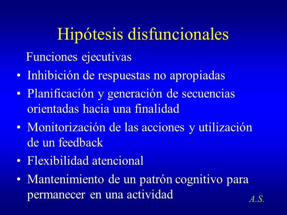 Hipótesis disfuncionales Funciones ejecutivas Inhibición de respuestas no apropiadas Planificación y generación de secuencias orientadas hacia una fin
