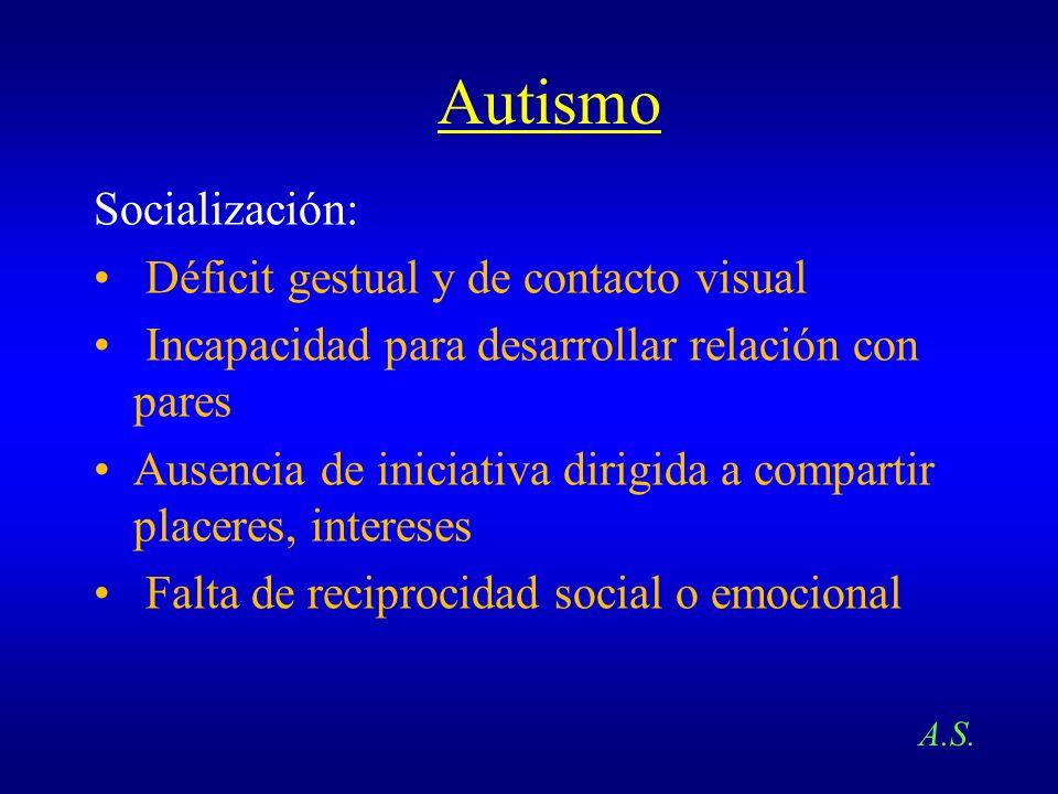 Autismo Socialización: Déficit gestual y de contacto visual Incapacidad para desarrollar relación con pares Ausencia de iniciativa dirigida a comparti