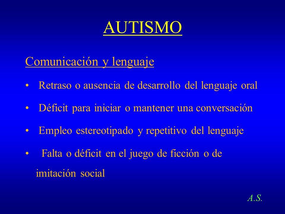 AUTISMO Comunicación y lenguaje Retraso o ausencia de desarrollo del lenguaje oral Déficit para iniciar o mantener una conversación Empleo estereotipa
