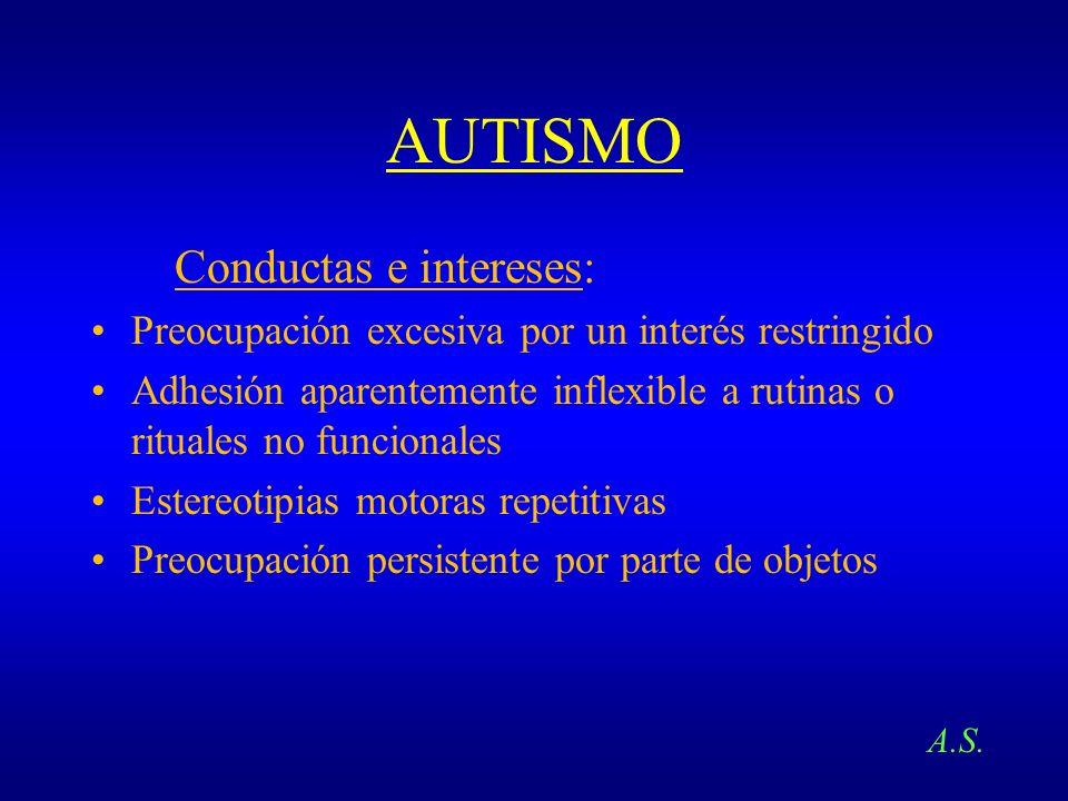 AUTISMO Conductas e intereses: Preocupación excesiva por un interés restringido Adhesión aparentemente inflexible a rutinas o rituales no funcionales