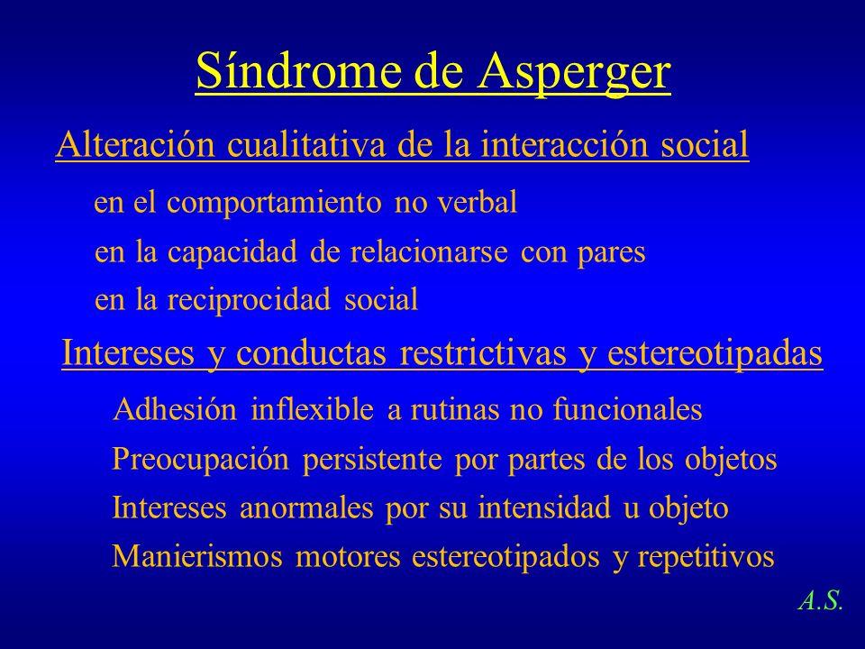 Síndrome de Asperger Alteración cualitativa de la interacción social en el comportamiento no verbal en la capacidad de relacionarse con pares en la re