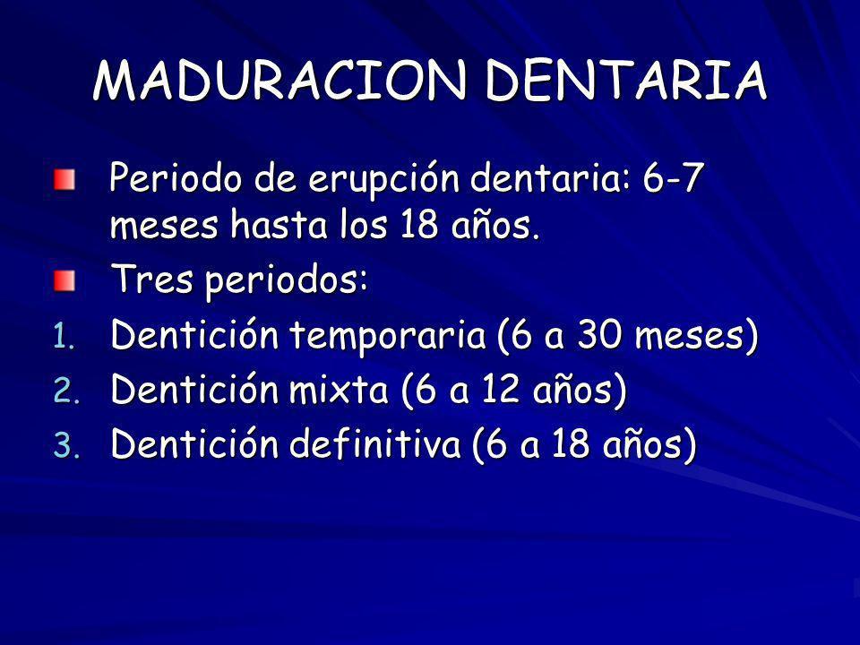 MADURACION DENTARIA Periodo de erupción dentaria: 6-7 meses hasta los 18 años. Tres periodos: 1. Dentición temporaria (6 a 30 meses) 2. Dentición mixt