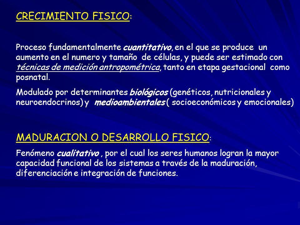 CRECIMIENTO FISICO : Proceso fundamentalmente cuantitativo, en el que se produce un aumento en el numero y tamaño de células, y puede ser estimado con